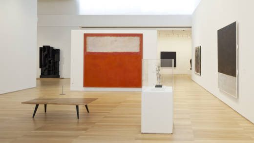 Installation view of the Anderson Collection at Stanford, including Mark Rothko's 'Pink and White Over Red,' 1957.