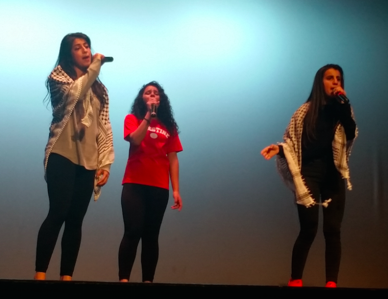 Dalya Ramadan (left) and other Palestinian rappers performed in Oakland on Sunday, March 19.