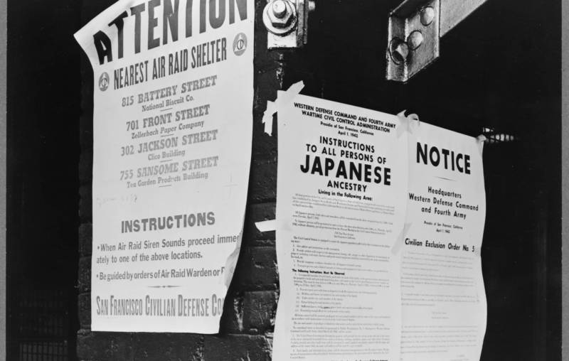 A photo by Dorothea Lange from 'Exclusion: The Presidio's Role in World War II Japanese American Incarceration' at the Presidio of San Francisco