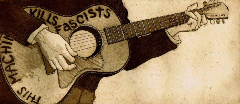 "Fernando Marti's etching ""This Machine Kills Fascists"" is a critique of President Trump and a tribute to folksinger Woody Guthrie, who famously displayed those words on his guitar in the 1930s."