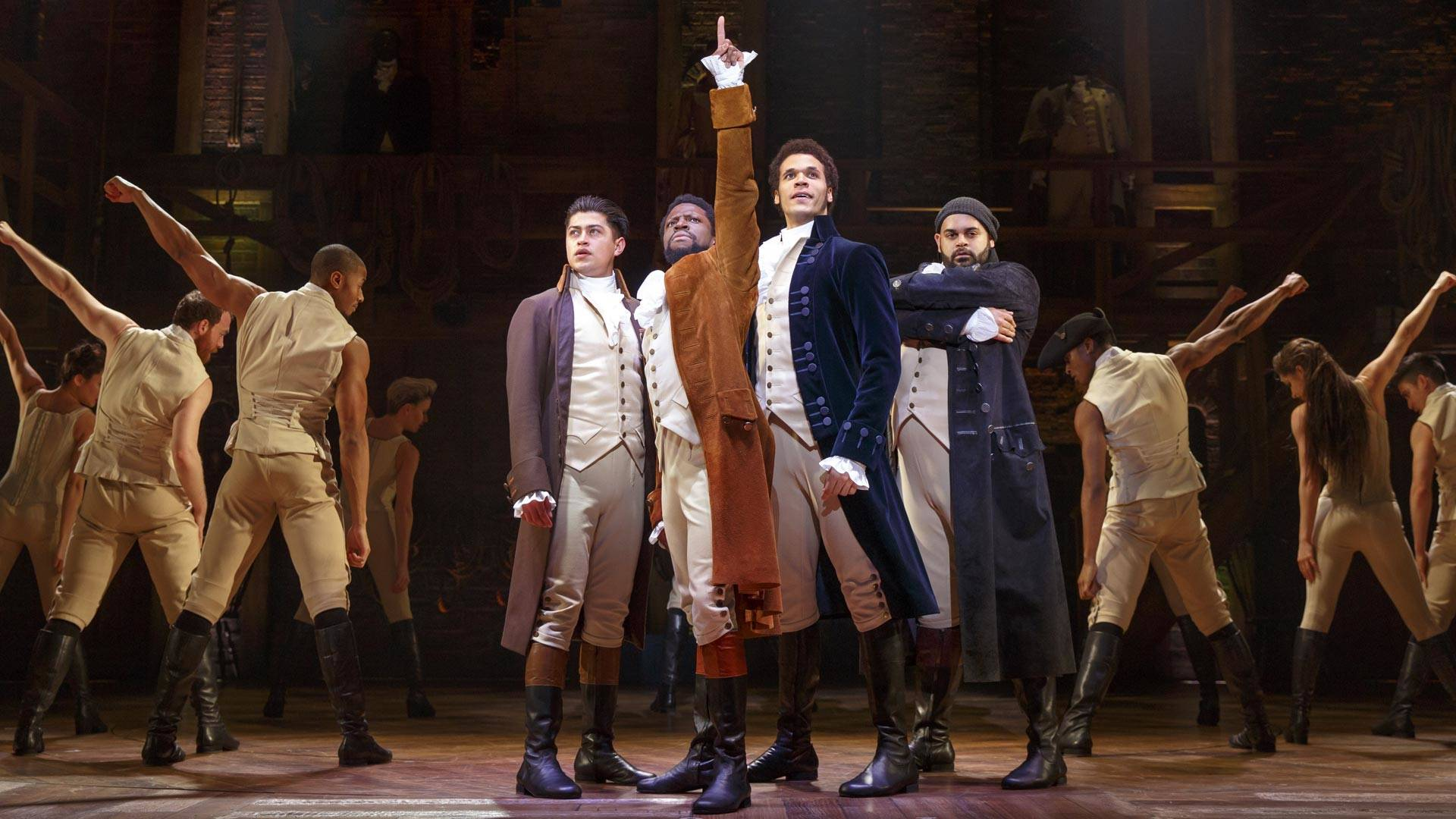 Ruben J. Carbajal, Michael Luwoye, Jordan Donica, Mathenee Treco and the 'Hamilton' company of the 'Hamilton' national tour, currently at SHN Orpheum Theatre in San Francisco. Joan Marcus