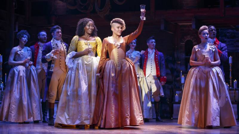 Amber Iman, Emmy Raver-Lampman and  the 'Hamilton' company of the 'Hamilton' national tour, currently at SHN Orpheum Theatre in San Francisco.