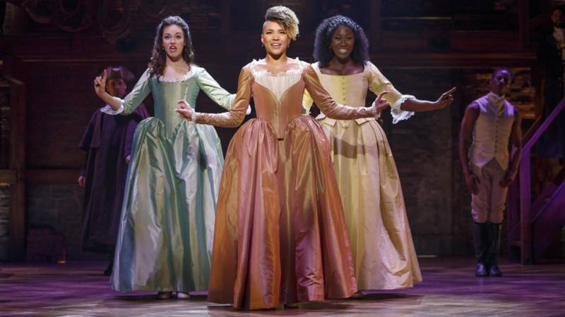 Solea Pfeiffer, Emmy Raver-Lampman and Amber Iman in the 'Hamilton' national tour, currently running at SHN Orpheum Theatre in San Francisco.