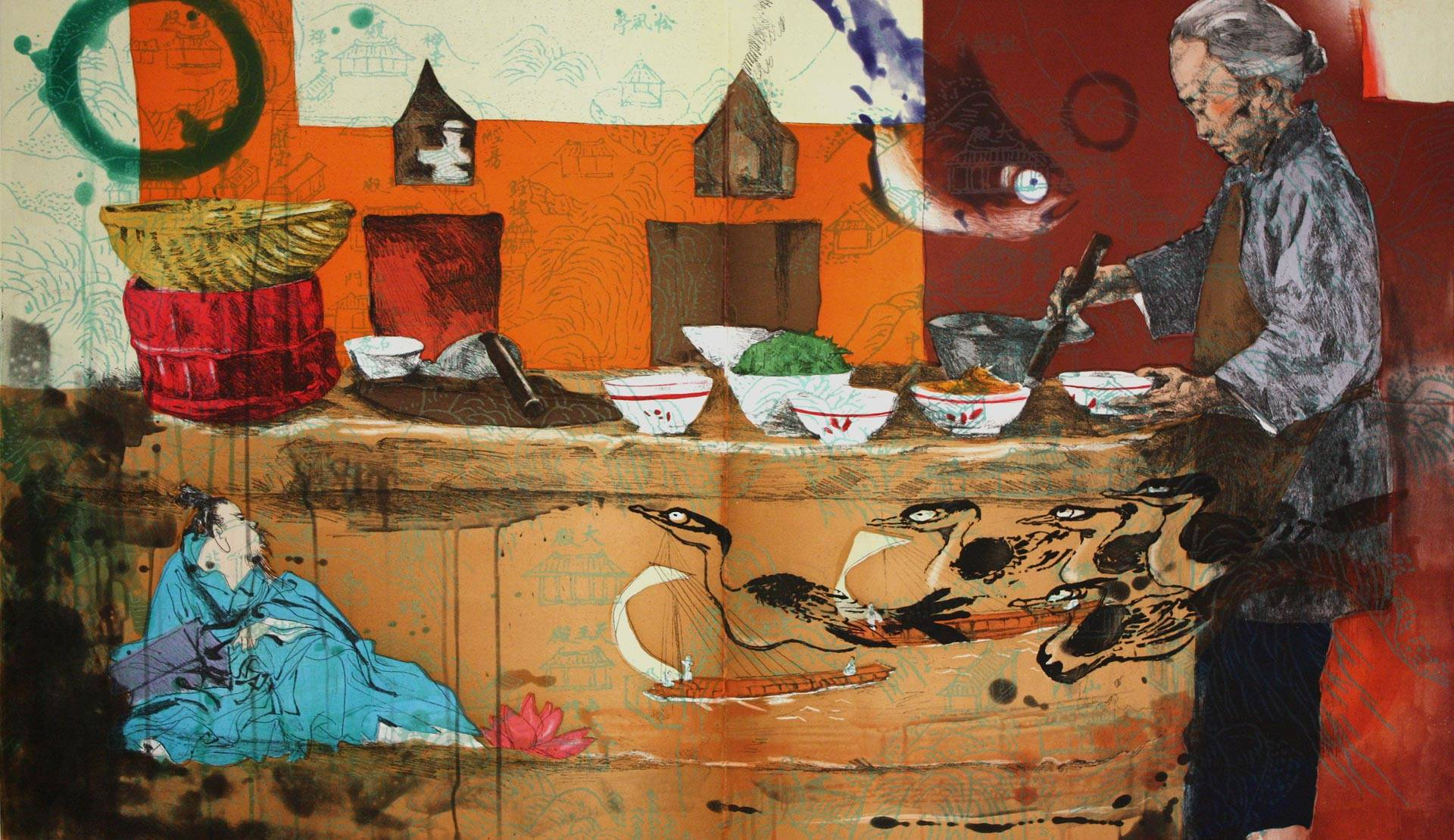 'Luzao (Stove)' (2008), by Hung Liu. It's one of the paintings that speak to the dignity of labor in 'We Who Work' at the Santa Cruz Museum of Art and History.