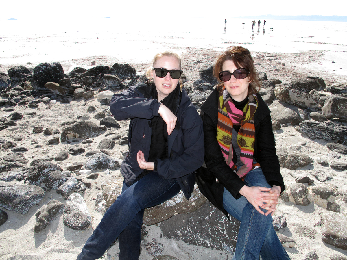 Allison Terbush, curatorial practice program manager, and Leigh Markopoulos at Robert Smithson's 'Spiral Jetty,' 2010.