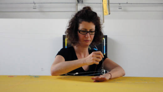 Leigh Markopoulos with an interactive artwork at the São Paulo Biennial, 2010.