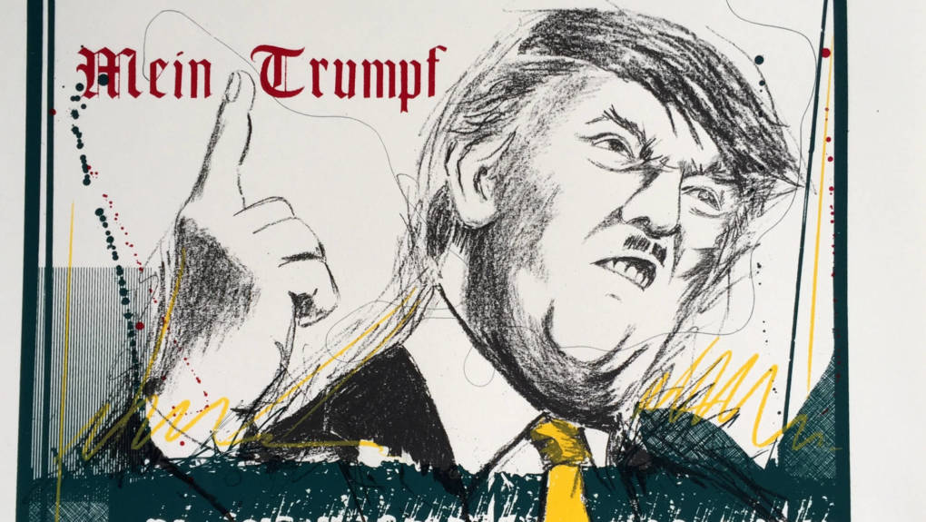"""""""Mein Trumpf"""" is a screenprint by Malaquias Montoya in the show """"Creation and Resistance"""" at the Juan R. Fuentes Gallery in San Francisco"""