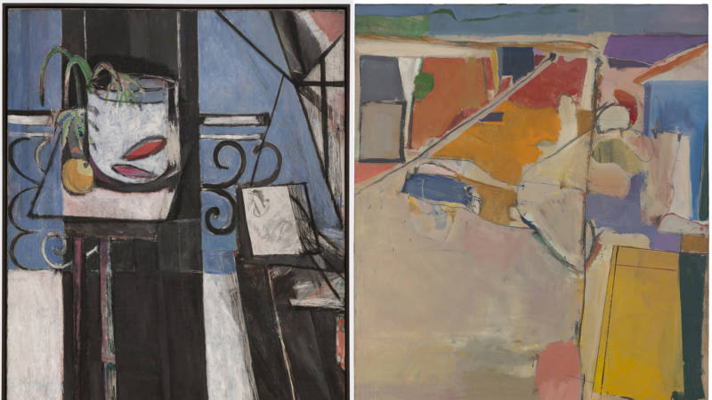 Matisse's Goldfish and Palette next to Diebenkorn's Urbana #5- showing the affinities between the two artists in a show at SFMOMA