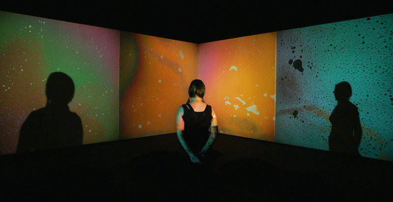 A woman looks at Metzger's 'Liquid Crystal Environment',part of a 2009 retrospective of his work at London's Serpentine Gallery