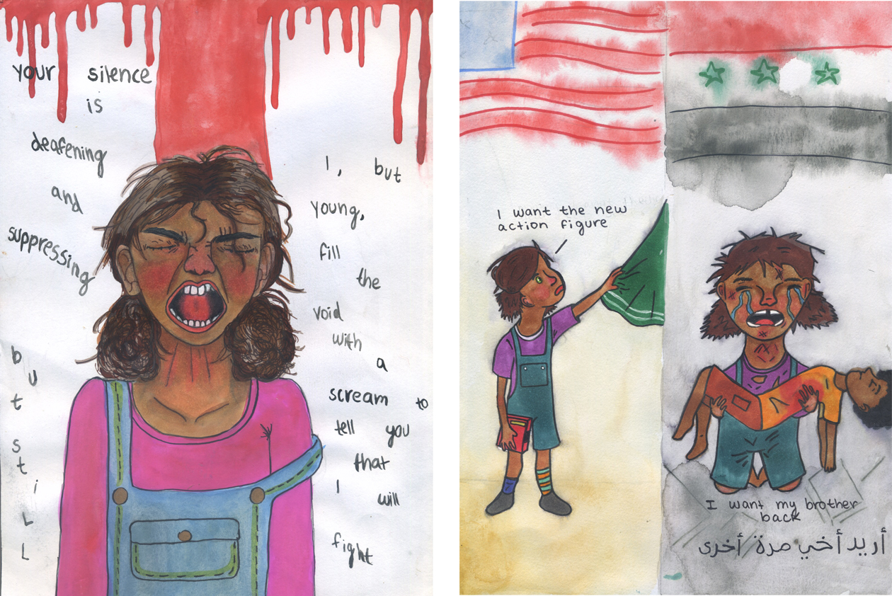 Left: Quinn Nelson's drawing in 'RESIST!' Right: Nelson's winning drawing in the 2016 'New York Times' editorial cartoon contest.