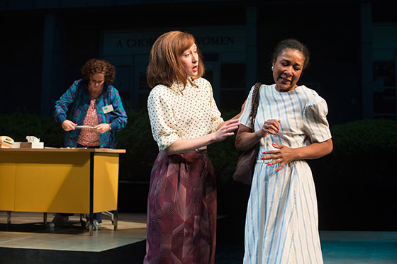 A scene from 'Roe' at Berkeley Rep: (L to R) Sara Bruner (Norma McCorvey), Amy Newman (Ronda Mackey), and Gina Daniels (Ensemble).