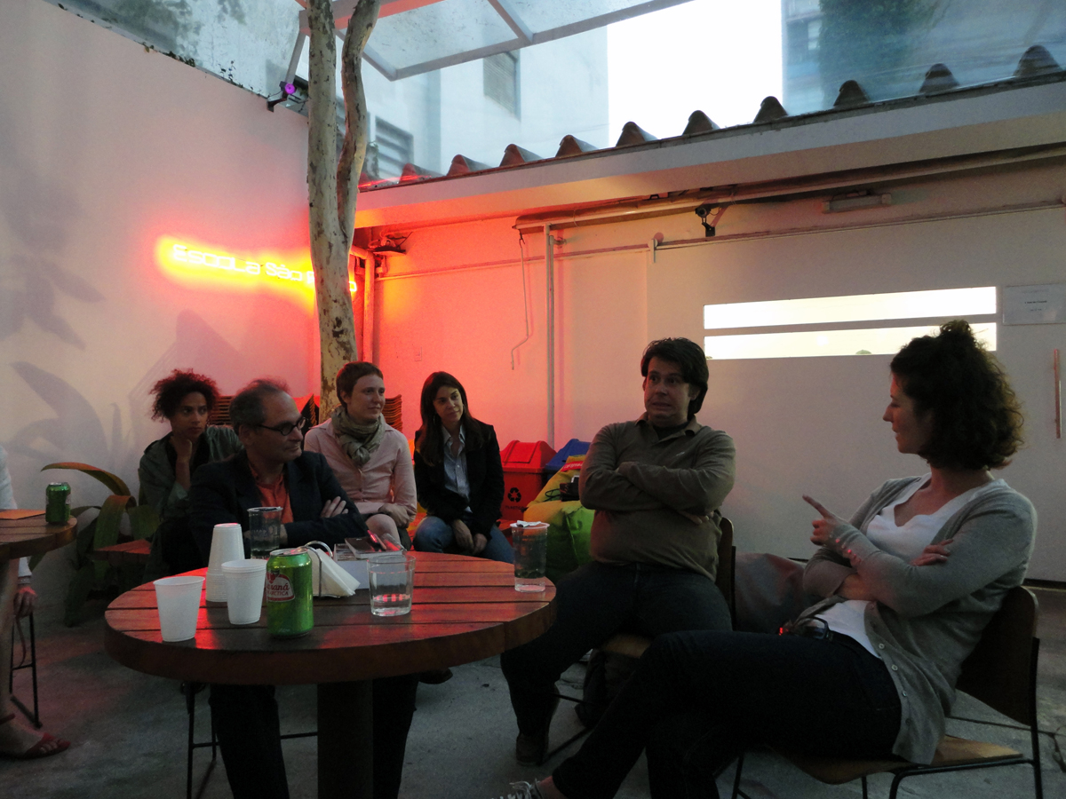 Leigh Markopoulos (far right) with curatorial practice students and local organizers during the São Paulo Biennial, 2010.