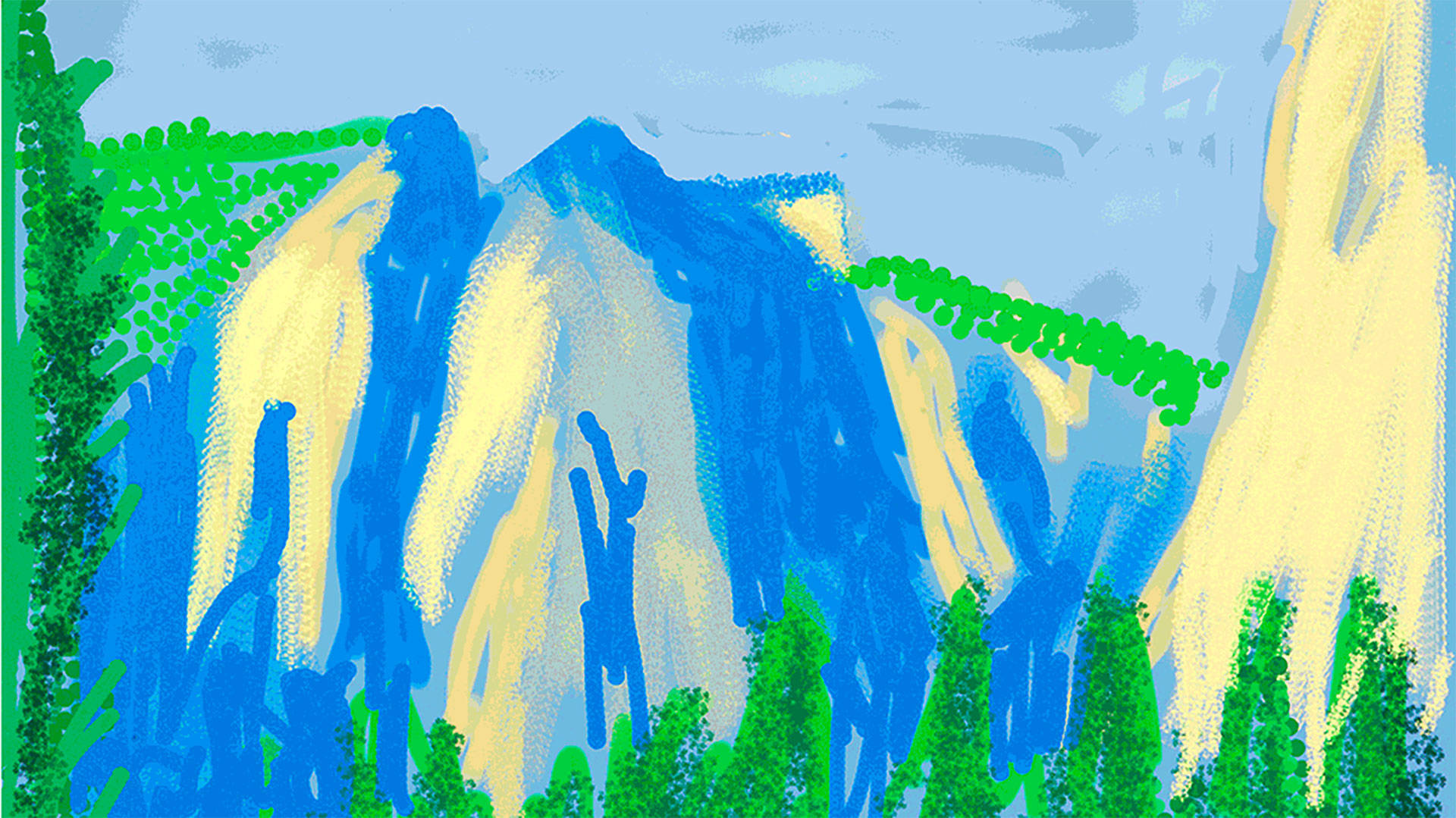 "Detail from ""Untitled No. 2"" from The Yosemite Suite, 2010, by David Hockney.  Photo: Courtesy of David Hockney"
