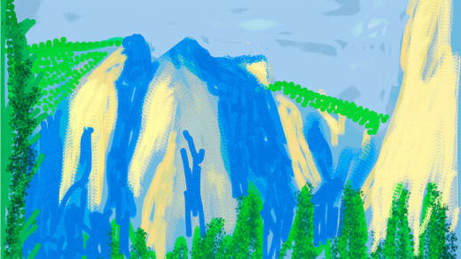 "Detail from ""Untitled No. 2"" from The Yosemite Suite, 2010, by David Hockney."