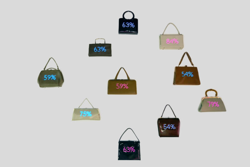Purses from an installation called 'Wage Gaps'