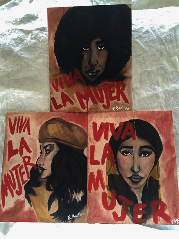 Portraits of a Brown Beret, a Black Panther and Sacheen Littlefeather by Estefania Bautista.