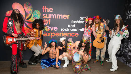 Performers at 'The Summer of Love Experience' donor reception at de Young Museum.