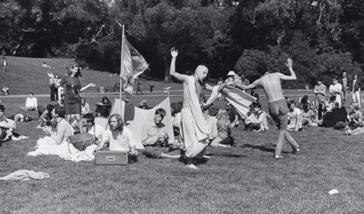 "Ruth-Marion Baruch, ""Hare Krishna Dance in Golden Gate Park, Haight Ashbury,"" 1967. Gelatin silver print. Lumière Gallery, Atlanta, and Robert A. Yellowlees."