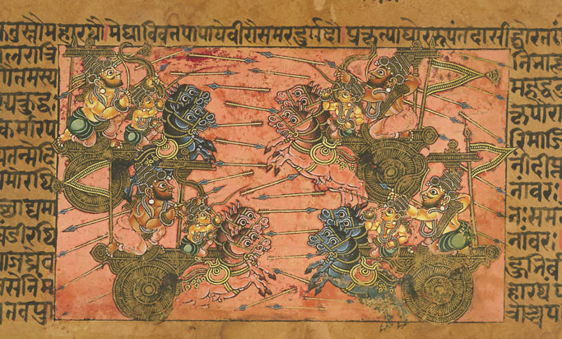 A seventeenth-century depiction of the battle of Kurukshetra. Artist unknown