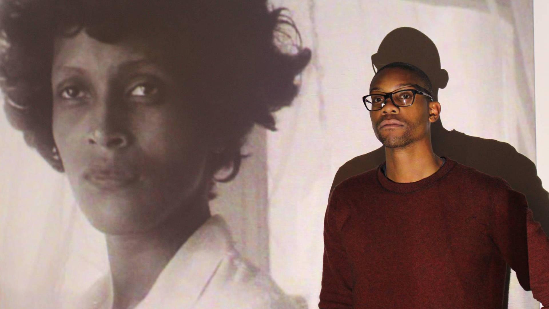 Ryanaustin Dennis with an image from Haile Gerima's film 'Bush Mama.'  Sarah Burke