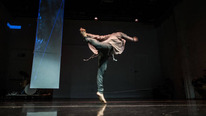 Hien Huynh spirals through the air in Scarlett Cushion's 'The Bell in the Blood' at CounterPulse.