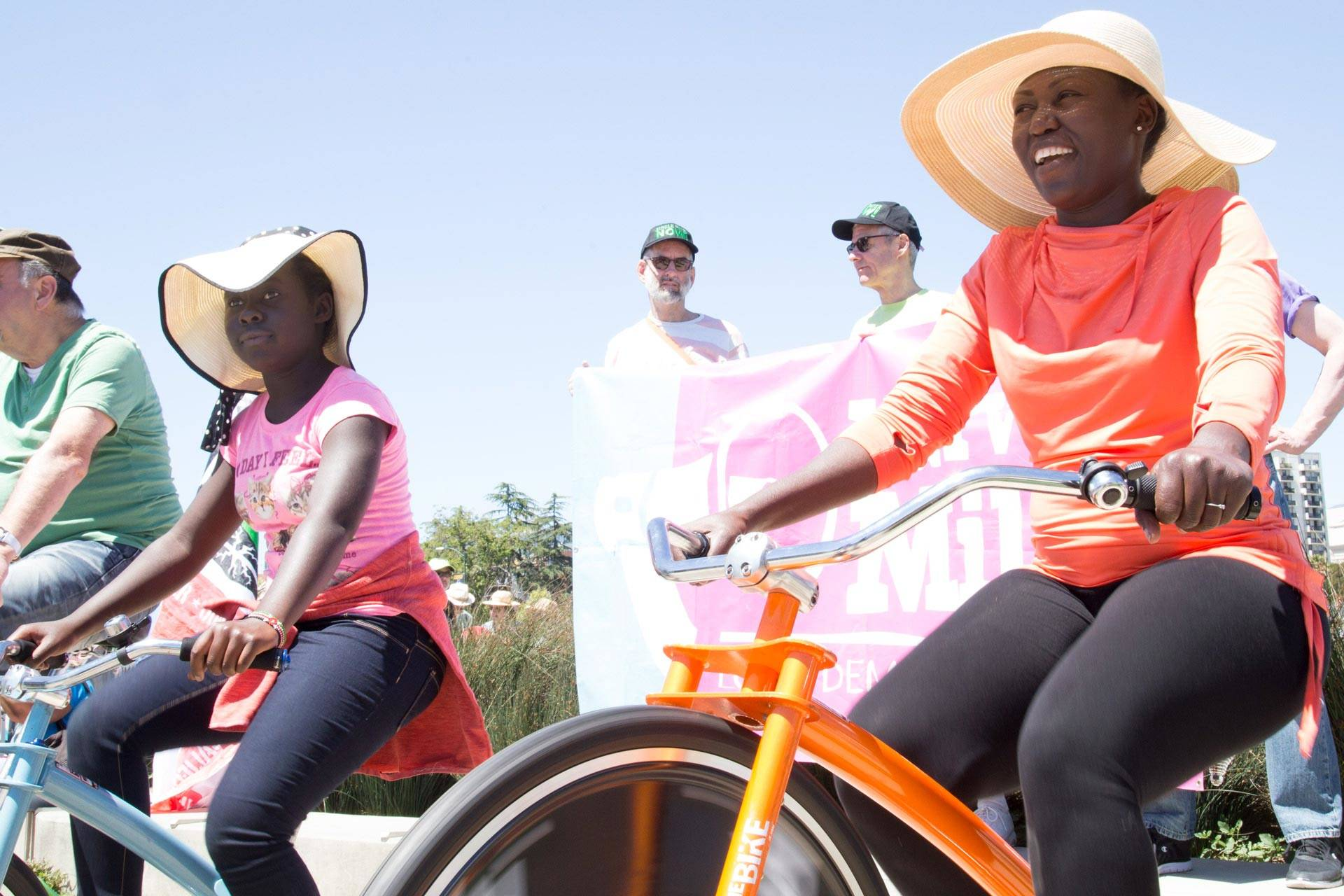 Edna Lehnert and her 10-year-old daughter generate pedal power at the People's Climate march in Oakland, April 29, 2017.