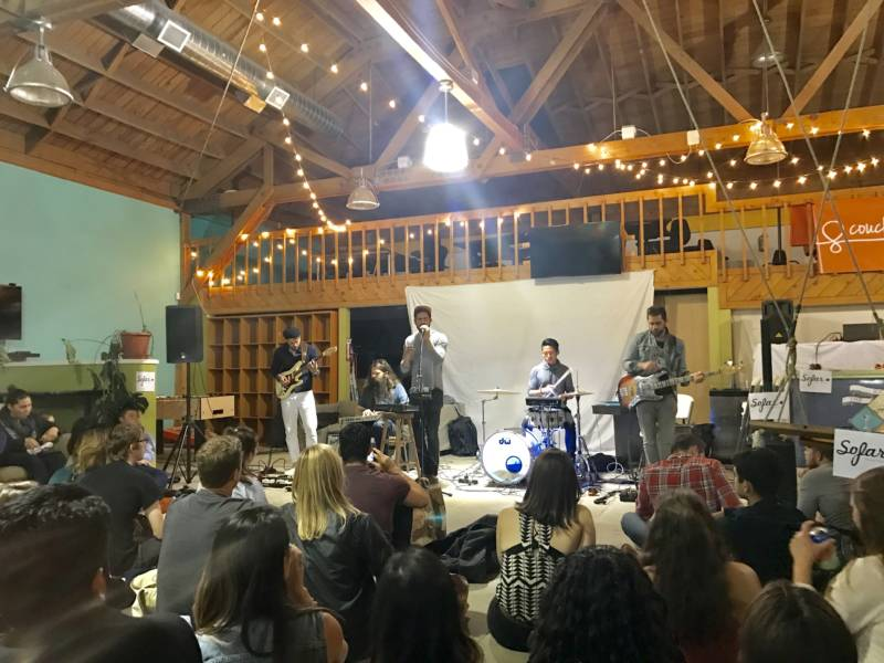 Eyes on the Shore perform a Sofar Sounds show at Couchsurfing.com headquarters in San Francisco in April 2017.