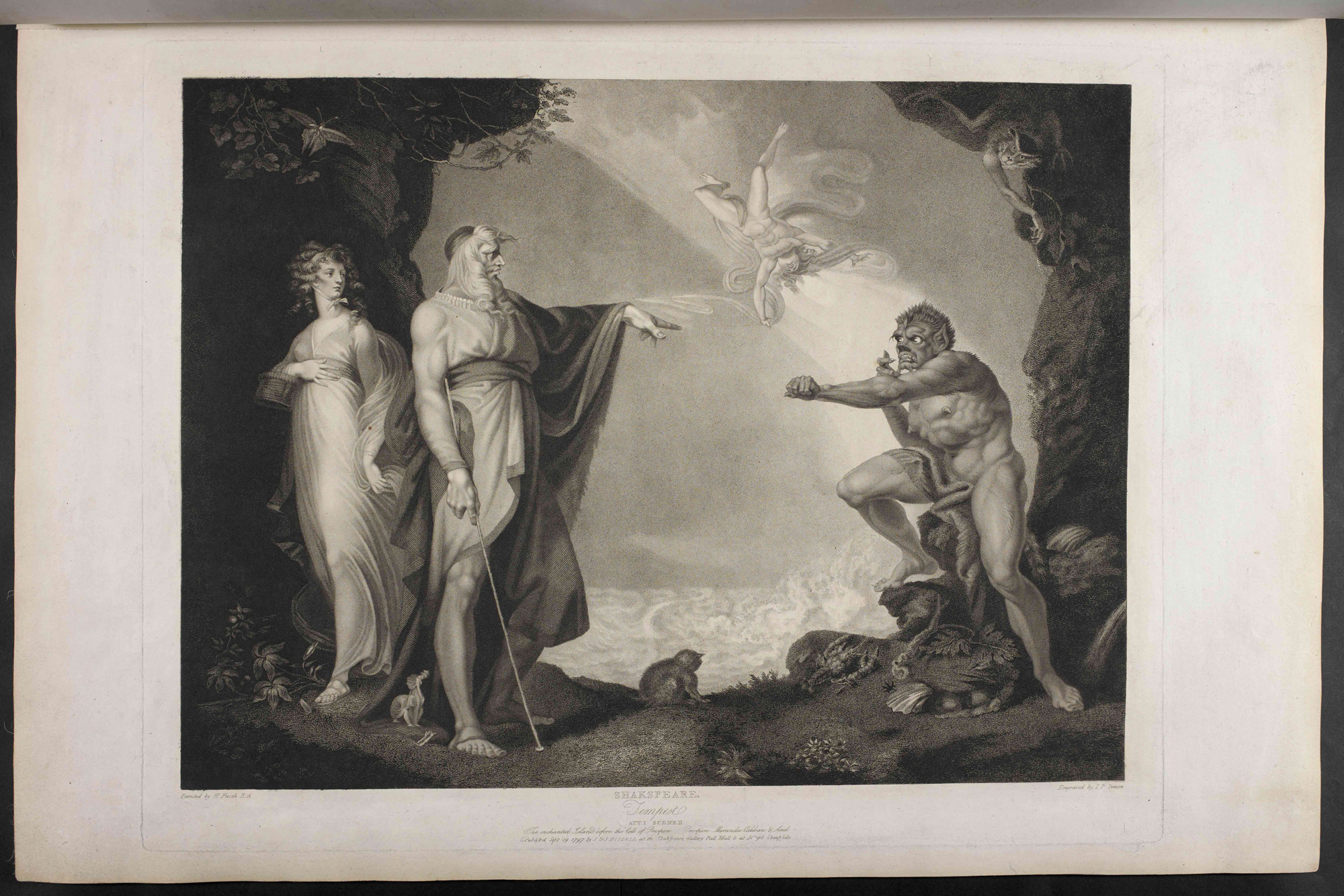 Prospero, Miranda, Caliban and Ariel, plate four from The Boydell Shakespeare Gallery, 1797