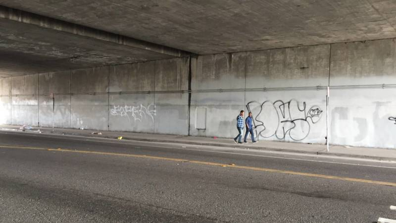 The I-580 underpass wall where the Oakland Super Heroes Project wants to paint a mural