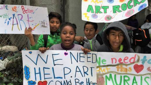 Hoover Elementary 4th graders protest a Caltrans policy holding up a new mural on a Highway 580 underpass.