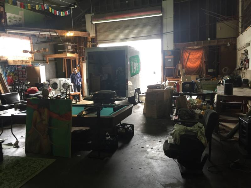 Tenants empty the Bernal Heights converted warehouse before deputies arrive.