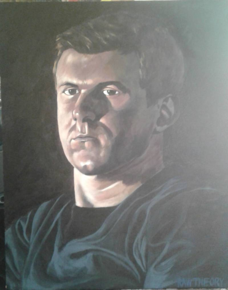 "Jon Proby's portrait of James O'Keefe. Of his subject, the artist states: ""The vanguard of undercover journalism and the sword of the new fourth estate."""