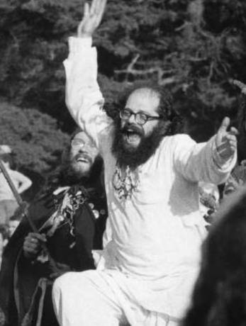 Poet Allen Ginsberg dancing to the grateful dead at the Gathering of the Tribes for a Human Be-In at Golden Gate Park in San Francisco (1967).