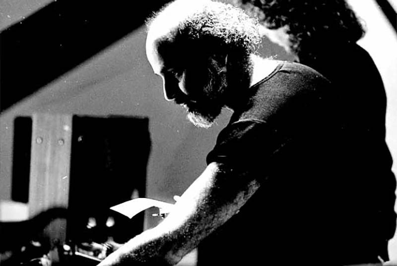Subotnick with Ralph Grierson preparing Liquid Strata for piano and electronic ghost score at The Kitchen in 1979.