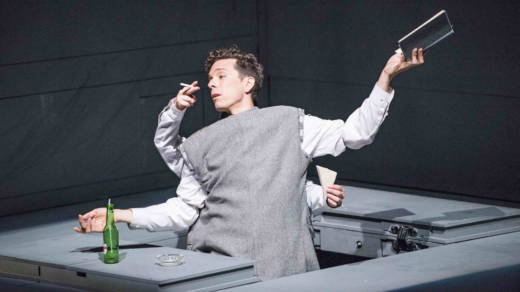 Jean Cocteau (Olivier Normand) dazzles 'Life' magazine in 'Needles and Opium' by Robert Lepage.