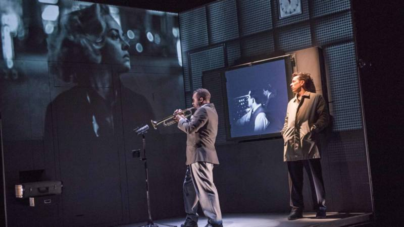 Robert (Oliver Normand) watches Miles Davis (Wellesley Robertson III) create the soundtrack for Louis Malle's 'Elevator to the Gallows' in 'Needles and Opium' by Robert Lepage.