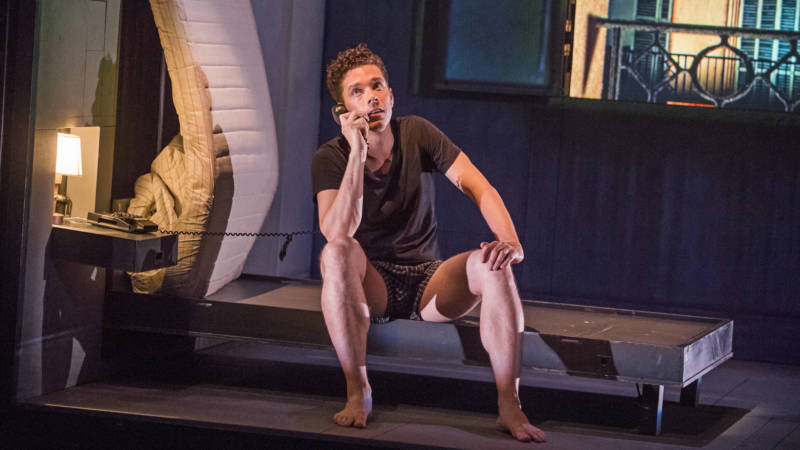 Robert (Olivier Normand) gets more and more frustrated on the phone is in 'Needles and Opium' by Robert Lepage.