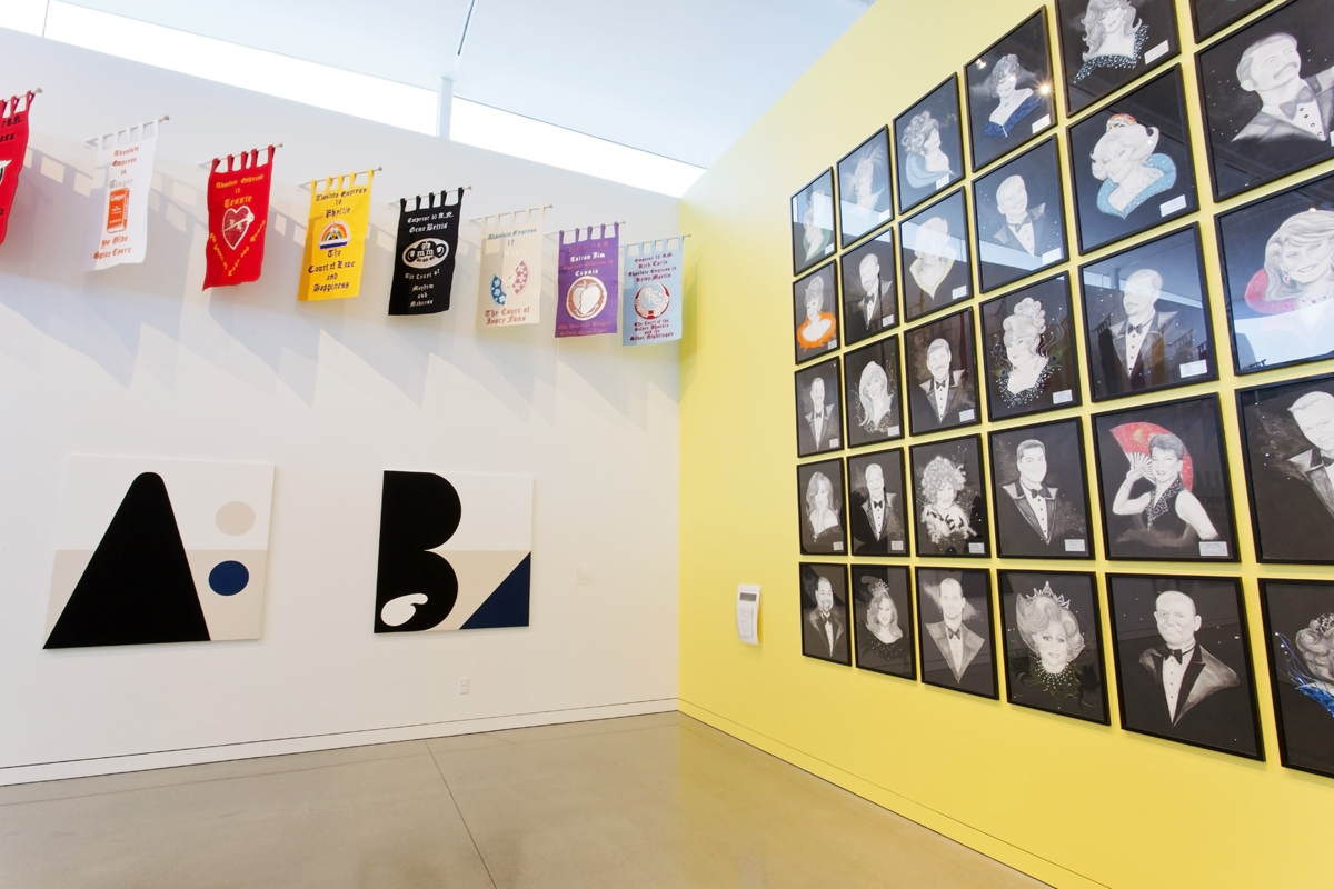 Installation view of 'Over the Top: Math Bass and the Imperial Court SF' at OMCA.