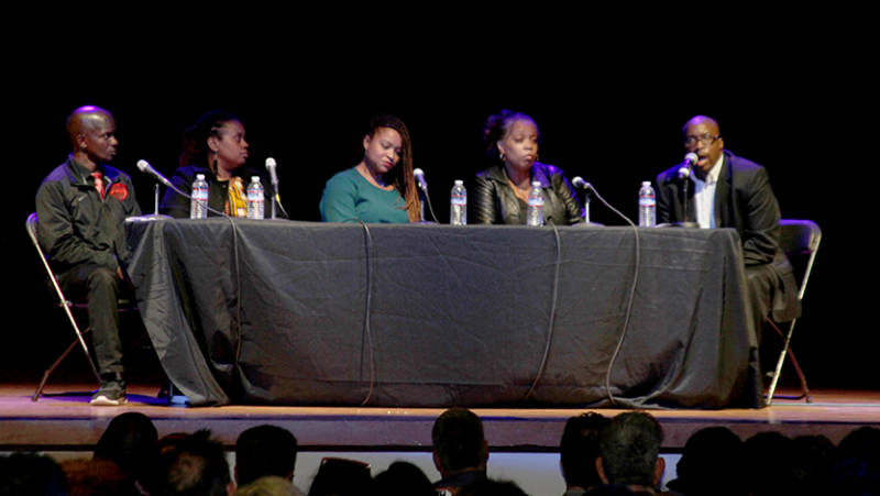 Community panel discusses connections between 'Hercules in the Bayview' and real-life tragedies that have unfolded in neighborhood residents' lives in recent years. . Left to right: Chris McAllister, April Spears, Takija Gardner, Gwen Woods, Shawn Richard.