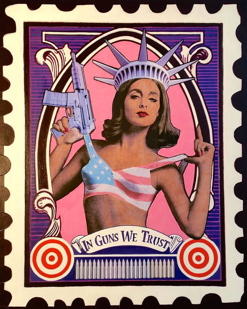 """In Guns We Trust"" by Mark Harris. Mixed media, consisting of acrylic paint, acrylic ink, archival photo paper, and vinyl."