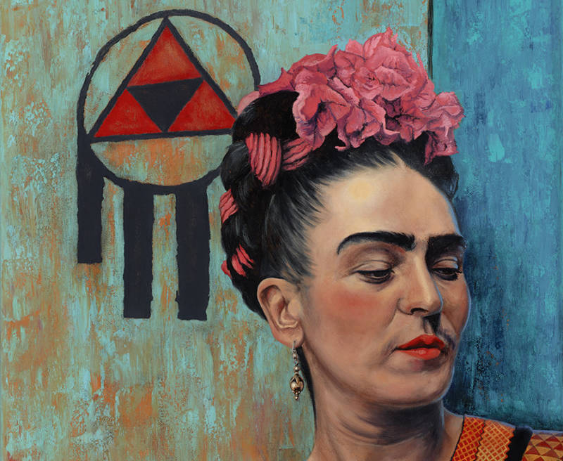 "Detail of ""Frida,"" an oil painting by Eric Almanza. Note the symbol of resistance he includes in many of his more recent paintings."