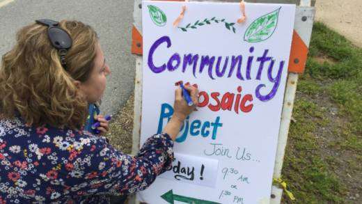Cynthia Gingerich helps get the word out about the Community Mosaic Tree project.