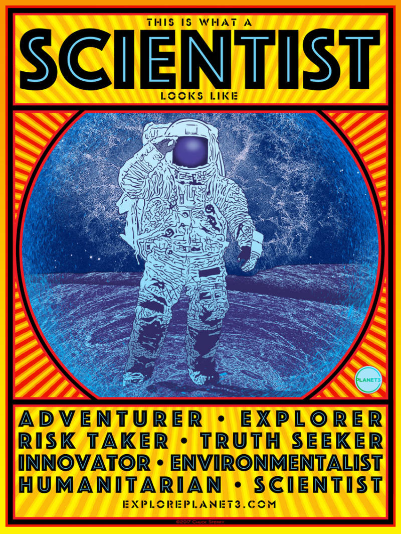The backside of Chuck Sperry's poster for the March for Science.