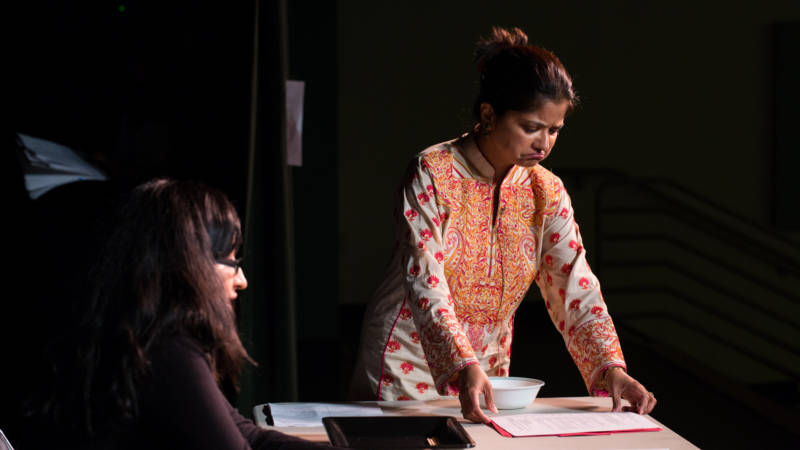 "In ""Just Be Happy,"" Dr. Bibi Das plays a mother struggling to talk to her daughter, played by Preeti Talwai, about depression."