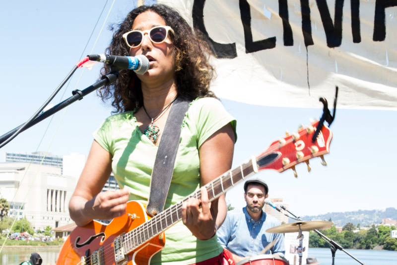 Rupa & the April Fishes perform at the People's Climate march in Oakland, April 29, 2017.