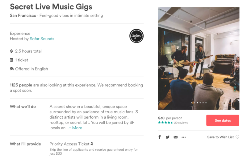 Sofar's listing on Airbnb, where a guaranteed entry ticket costs $30.