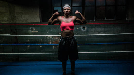 "Olympic Gold Medal Boxer Claressa ""T-Rex"" Shields, 20, at Gallo Boxing Gym in Lansing, Michigan; part of Zackary Canepari's 'Flint is a Place.'"