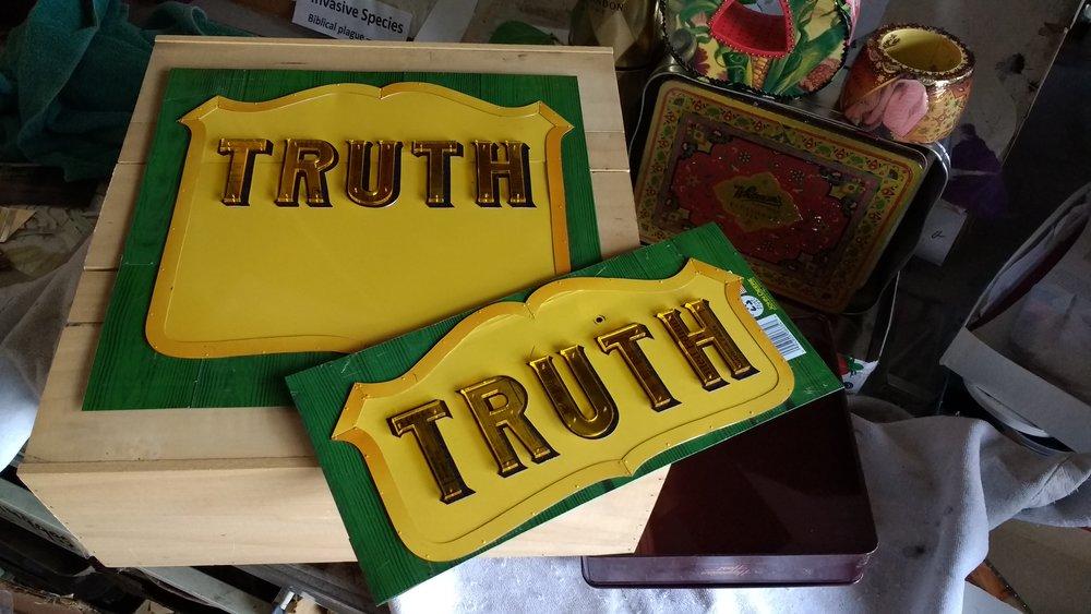 "Harriete Estel Berman's ""Truth"" fruit crate label inspired by the California Citrus label of a similar design."
