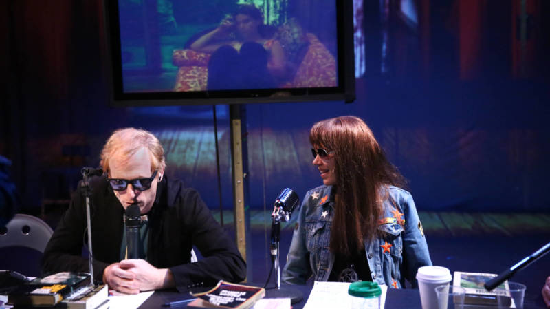 Norman Mailer 2 (Scott Shepard) and Village Voice columnist Jill Johnston (Kate Valk) go at in the Wooster Group's 'Town Hall Affair' directed by Liz LeCompte.