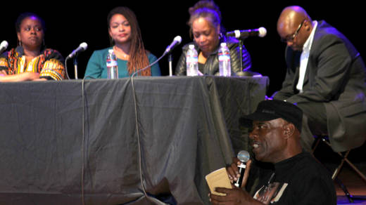 "Community panel discusses connections between 'Hercules in the Bayview' and real-life tragedies that have unfolded in neighborhood residents' lives in recent years. Left to Right: April Spears, Takija Gardner, Gwen Woods, Shawn Richard, Cephus ""Uncle Bobby"" Johnson."